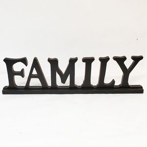 Signage Family Words Upright Standing Black decor